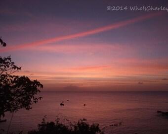SUNSET. Tropical. Seascape. Orange. Blue. Nautical.