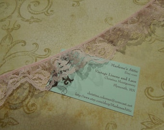 1 yard of 1 inch Pink Ruffled Chantilly Lace trim for girl, wedding, baby, altered couture, lingerie by MarlenesAttic - Item UU8