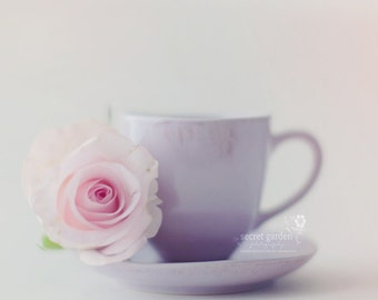 flower rose stilllife photo print - whimsical fine art nature photography, wall art, pink, lilac, pastel, light, pretty
