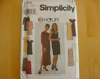 1990s Simplicity Pattern 7905, Misses Straight Pulllover Dress, Slipdress, Plus Size 16-20, UNCUT