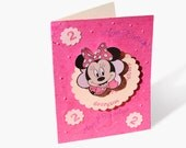 Minnie Mouse BIRTHDAY CARD Personalized for Kids Handmade Greeting Card for girls Custom Made with Minnie Mouse in Pink
