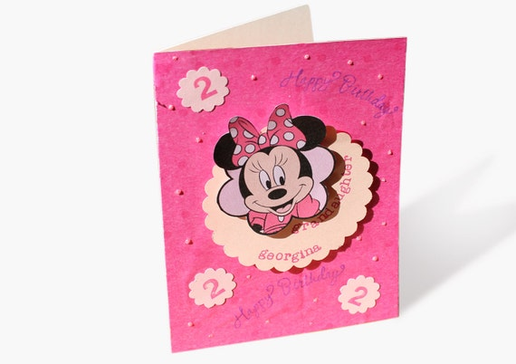 Minnie Mouse BIRTHDAY CARD Personalized for Kids Handmade – Personalized Kids Birthday Cards