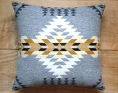 Wool Pillow - Silver Native Geometric Tribal Southwest Western