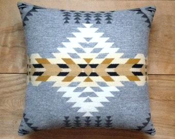 Wool Pillow - Silver Native Geometric Tribal Southwest Western