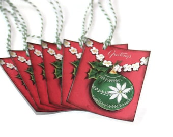 Vintage Style Christmas Gift Tags Retro Inspired Green Ornament Poinsettia