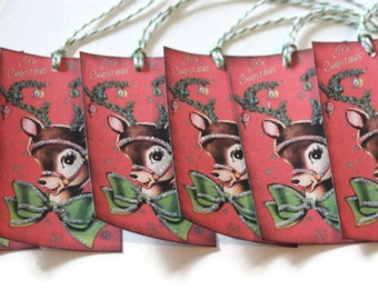 Vintage Style Christmas Tags Gift Retro Inspired Reindeer Kitsch Set of 6