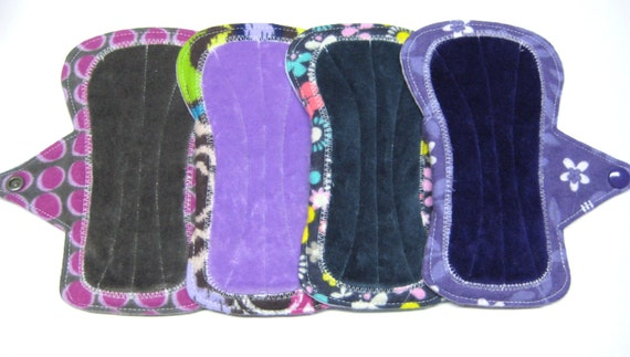 "6"" OBV or Minky / Flannel Shorty Mama Cloth Menstrual Pads / Incontinence Pads - Set of 4 - Medium to Heavy Flow - Customizable"