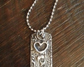 CTR - Choose The Right -  Stamped and soldered necklace with heart accent