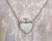 Broken China Heart and Silver Solder Necklace