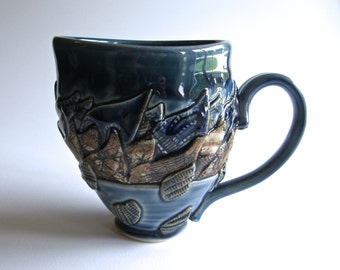 Whimsical Landscape Cup in Blues and Browns, White Stoneware and Marbled Clay; Hand Thrown and Slab Constructed, Antique Lace