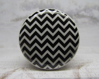 Black & White Chevron Drawer Knob Wine Bottle Stopper