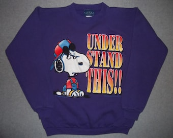 Vintage 80s 90s Snoopy Charlie Brown Dog Sweatshirt Under Stand This Tacky Gaudy Ugly Christmas Sweater Party X-Mas L Large XL Extra Large