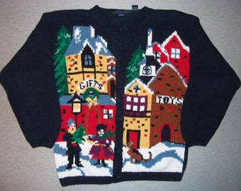 Old Town Toys Gifts Sweater Weather Winter Wonderland Tacky Gaudy Ugly Christmas Party X-Mas Holiday Warm XL Extra Large