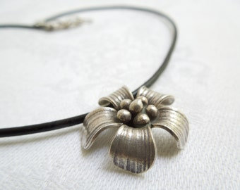 Cherry Blossom Necklace: Thai Hill Tribe Fine Silver Flower- Layered Necklace- Adjustable Length
