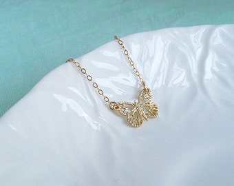 Gold Butterfly Necklace. Gold Filled Necklace. Gold Butterfly .Delicate Dainty. Layering. Feminine. Simple Everyday Wear