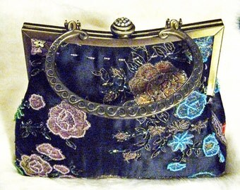 Beautiful Embroidered Black Satin Beaded Purse