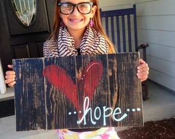"""Hope wood sign made on reclaimed wood 12x24"""""""