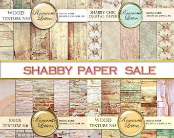 SALE digital scrapbook paper Sale digital wood background sale wedding paper Shabby Chic wood brick Shabby Chic rose printable backdrop baby