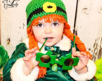 St. Patrick's Day Girl's Wig Hat - Ladies Leprechaun Hat