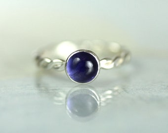 Hammered Twist Ring with Iolite - Sterling Silver and 6mm Gemstone Rope Ring