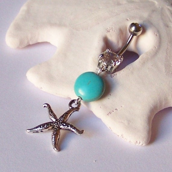 Belly Button Ring - Belly Button Jewelry - Navel Piercing - Silver Starfish Pendant with Magnesite - BEST SELLER - Ready to Ship