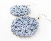 Light Blue Round Lace Doily Dangle Earrings - Cotton Crochet - Pastel Spring Something Blue Bridal Cottage Romantic Gift for Her