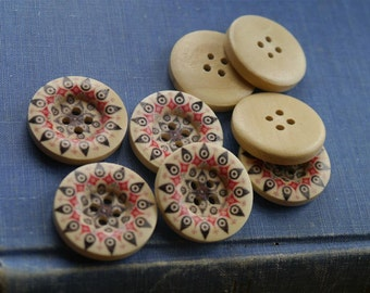 """12 Wooden Geometric Star Natural Buttons with Brown and Red Pattern 25mm  1""""  (WB2125)"""
