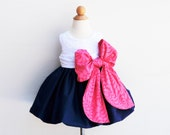 Last Two - Flower Girl Dress - Large Bow Bash - Navy Blue with Pink Color - 1st Birthday - Baptism - KK Children Designs