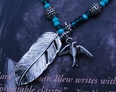Book mark, Book thong, southwestern silver and turquoise beaded feather and bird