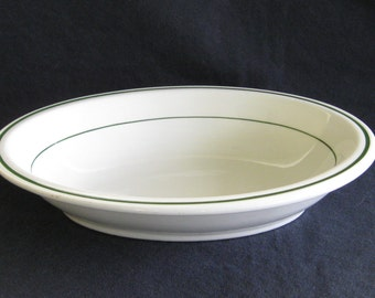 """Restaurant Ware Oval Vegetable Bowls """"Niagara"""" Green on White by Buffalo China"""