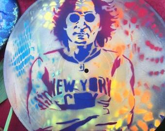 SPRAY PAINTED John Lennon Vinyl Record Art