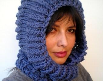 Denim Blue  Ball Hooded Scarf Soft mixed Wool  Hood Fashion  Chunky Hooded Scarf NEW