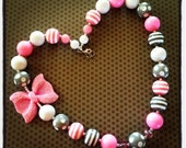 Pink, White and Gray Chunky Bead Necklace...Necklaces...Childrens Jewelry...Chunky Beads...Jewelry...Girls Necklaces