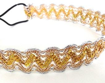 SALE // Gold and Silver Zig-Zag Chevron Headband