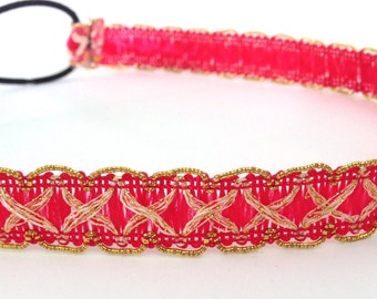 SALE // Coral Pink and Gold Headband