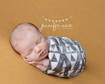 Grey Triangle Custom Baby Blanket | Baby Swaddle Wrap | Toddler Blanket by JuteBaby