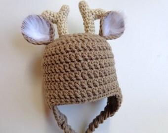 Newborn Crochet Deer Hat- Photo Prop- Boy, Girl- White Tail Deer