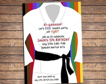 Karate Party Birthday Invitation: Printable Boy or Girl Taekwondo Party Invite with colors of karate belts, martial arts tween birthday