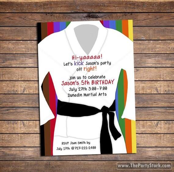 Karate Invitation Karate Birthday Invitation Karate Party