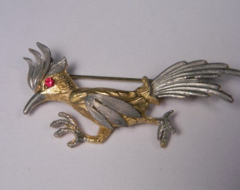 Vintage Bird Figural Roadrunner Brooch, Mixed Metals