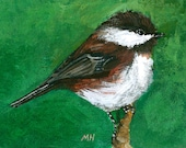 ACEO art print  2/25- Chest-backed chickcadee in a branch, Art Print of an ORIGINAL ACEO watercolor, Gift idea for bird lovers