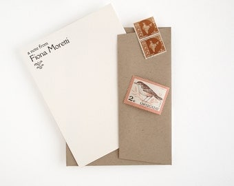 Personalized Letterpress Stationery Set - Flat Note Cards - Rialto