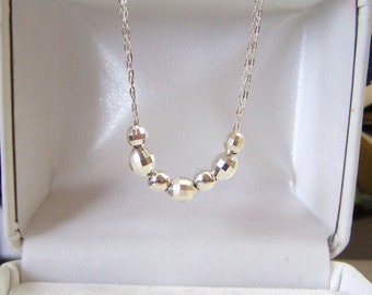 Sterling Beaded Necklace Handmade Artisan Mirror Faceted Oval & Smooth Rounds Sparkling Chain