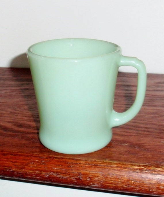 "MUG JADITE ANCHOR Hocking 8 Oz Green Opaque Crystal 1940's Hard to Find Fire-King Glass Dinnerware Cup 3 3/8"" High Excellent Condition"