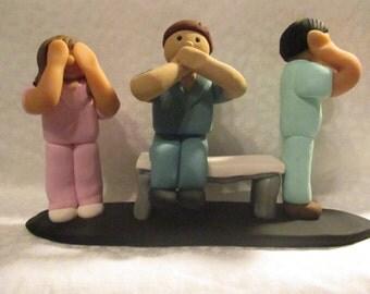 Polymer Clay - Hear No Evil, Speak No Evil, See No Evil Medical Staff