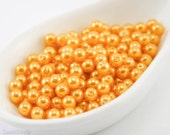 4mm Orange Pearl Beads (100) Czech Small Glass Thin Pressed Round Druk Opaque Spacers