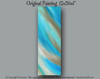 Aqua teal turquoise abstract art, Taupe and teal painting, Office decor, Teal wall art, Tan and teal home decor, Turquoise & brown artwork