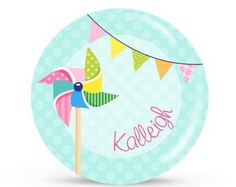 Personalized Plate -Pinwheel - Personalized Plate for Girls