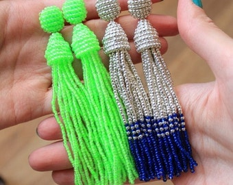 Beaded Tassel Earrings Neon Lime (made to order)