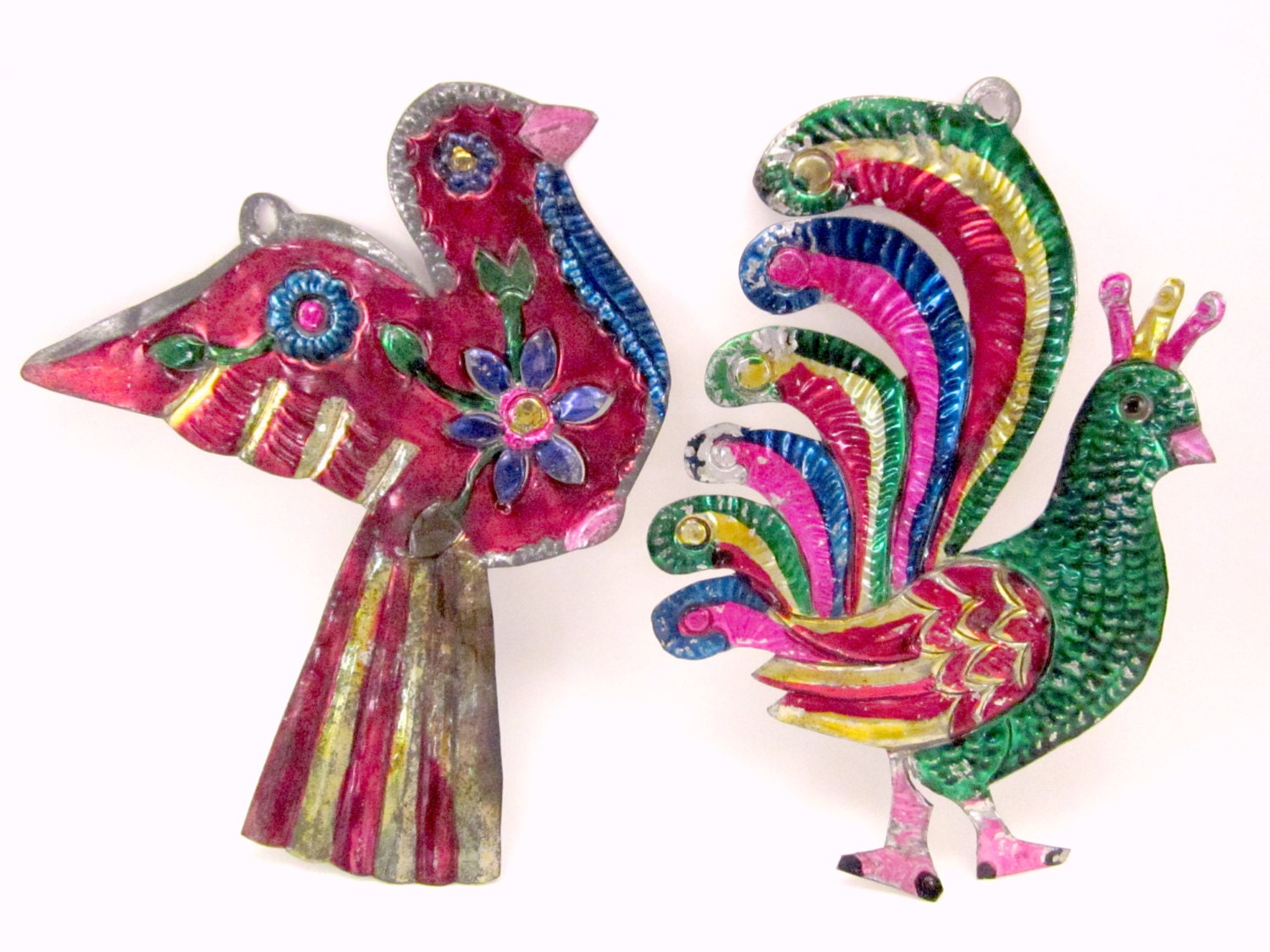 Large mexican tin bird christmas holiday ornaments vintage